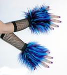 Blue Purple Black Monster Fur Wrist Cuffs