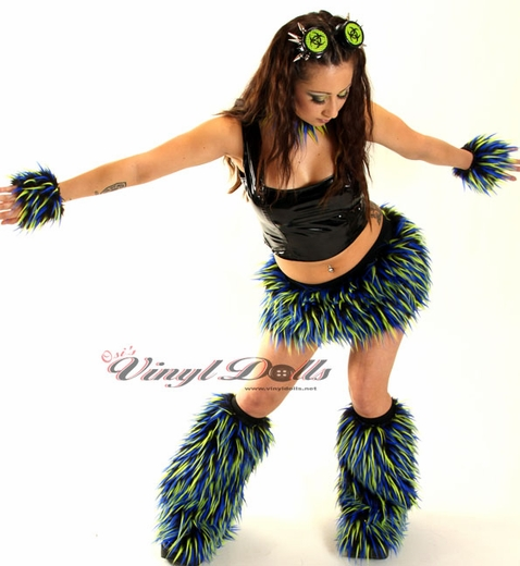 Blue, Yellow, Black Monster Fur Skirt