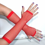 Bright Red Fingerless Fishnet Gloves