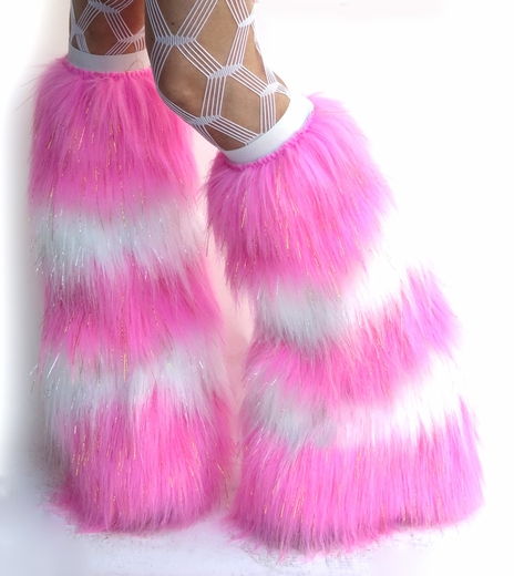 Candy Pink and White Fluffies Leg Warmers