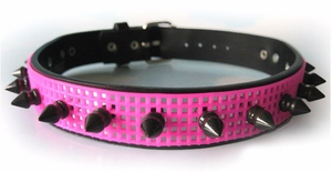 Collar UV Hot Pink Cyber Mesh Spiked Choker