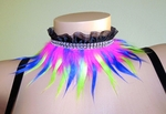 Collar with Pink, Yellow, Blue Fur, Ruffle, Rhinestones