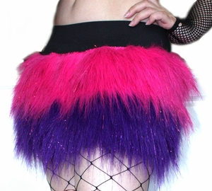Custom 2 Tone Glitter Furry Skirt - Pick Your Colors!