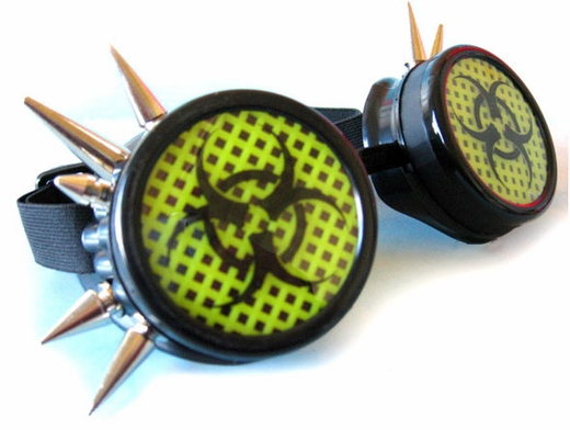 Cyber Goggles Biohazard UV Yellow Mesh with Spikes