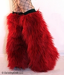 Deep Red Fluffies Leg Warmers