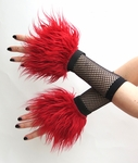 Deep Red Furry Wrist Cuffs