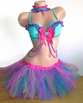 Fairy inspired Rave Outfit Bra, TuTu and Collar