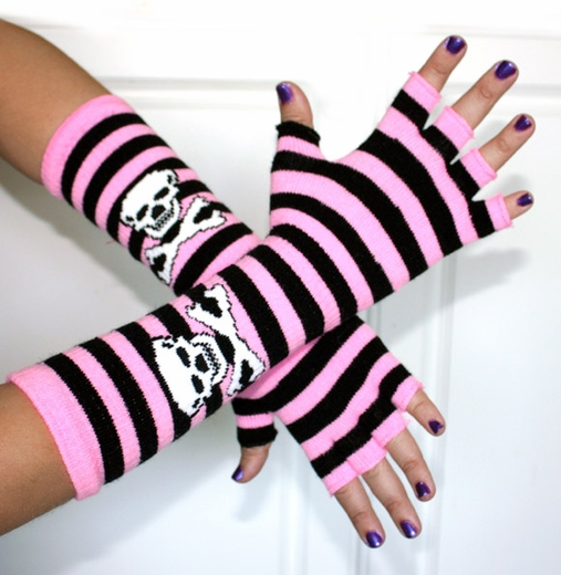 Fingerless gloves, striped Light Pink, Black with Skulls