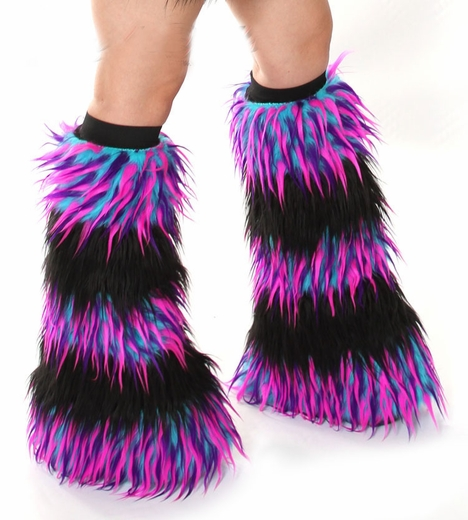Fluffies - Striped Monster Blue Pink Purple / Black