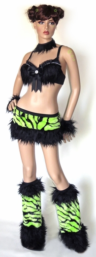 Fluffy Lime Zebra Rave Outfit