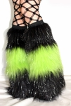 *Glitter* 3 Tone Black / Lime Green Furry Leg Warmers