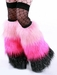 *Glitter* 3 Tone Furry Leg Warmers Baby Pink/Hot Pink/Black