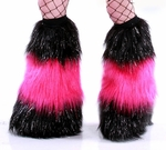 *Glitter* 3 Tone Furry Leg Warmers Black / Hot Pink
