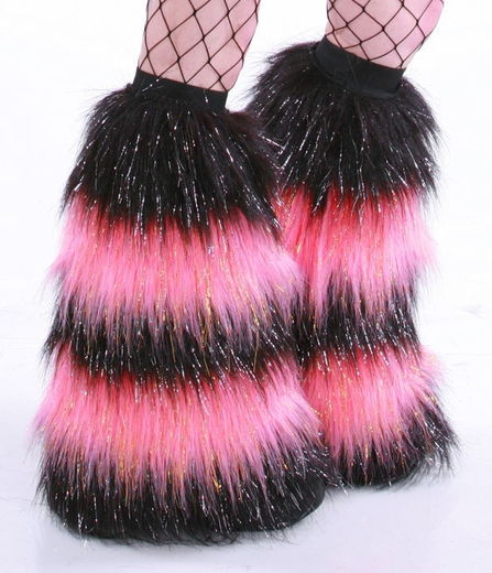 Glitter 5 Tone Candy Pink Black Furry Leg Warmers Fur Boot Covers