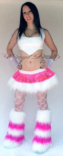 *Glitter* 5 Tone Hot Pink / White Furry Leg Warmers