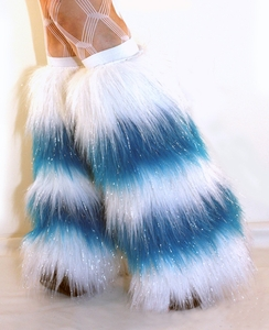*Glitter* 5 Tone White / Neon Blue Furry Leg Warmers / Boot Covers