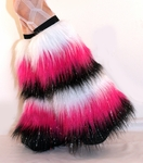 *Glitter* 6 Tone White/Hot Pink/Black Furry Fluffy Leg Warmers