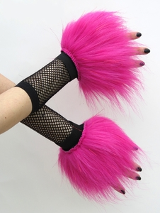 Glitter Hot Pink Fluffy Wrist Cuffs