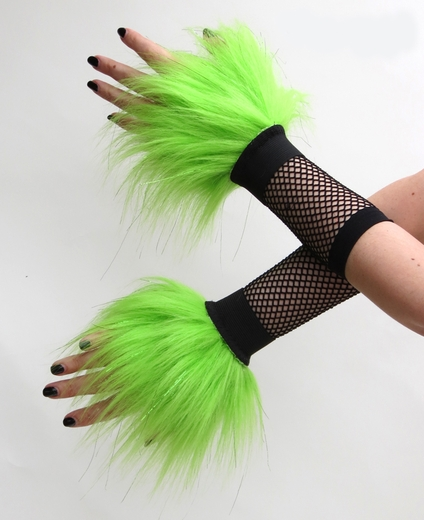 Glitter Lime Green Fluffy Wrist Cuffs