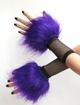 Glitter Purple Fluffy Wrist Cuffs