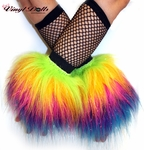 *Glitter* RAINBOW Furry Fluffy Wrist Cuffs / Warmers