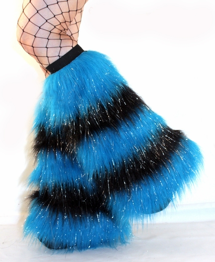 Glitter striped 5 Tone Neon Blue Black Furry Leg Warmers
