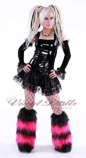 *Glitter* Striped Black/Hot Pink Fuzzy Leg Warmers Boot Covers