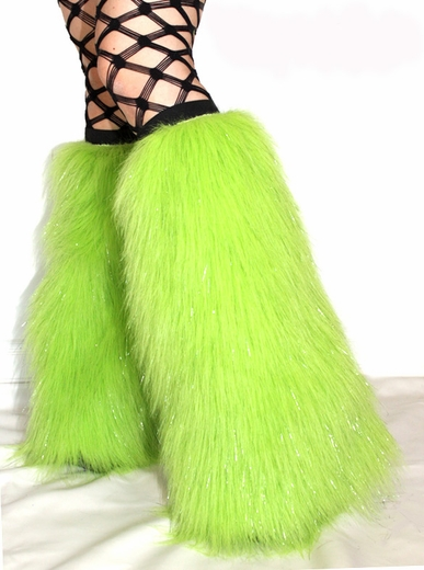 Sparkle Lime Green Fluffies Leg Warmers