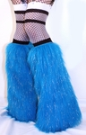 Sparkle Neon Blue Fluffies Leg Warmers