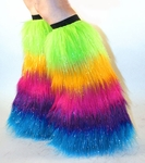 *Glitter* Rainbow Furry Leg Warmers, Boot Covers