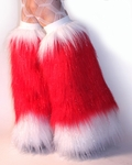 Red White *Santa Boots* Leg Warmers Fur Boot Covers