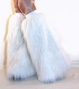 Sparkle White Fluffies Leg Warmers