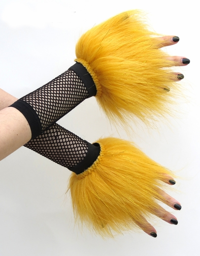 Glitter Yellow Fluffy Wrist Cuffs