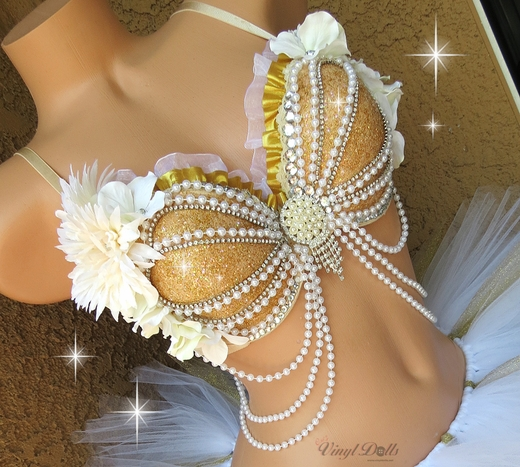 Gold Mermaid Rave Bra