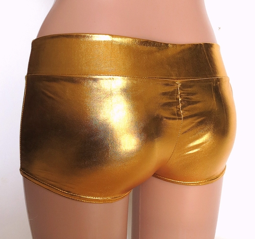 Gold Metallic Spandex Rave Shorts