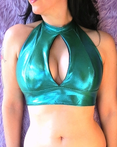 Holographic Teal Halter Top