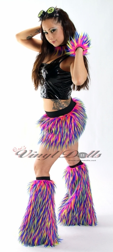 Hot Pink, Neon Yellow, Blue Monster Fur Furry Leg Warmers
