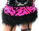 Hot Pink Zebra Furry Skirt