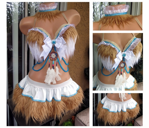 Indian Tribal Wear Rave Outfit White Brown