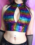 Iridescent Holographic Rainbow Rave Halter Top
