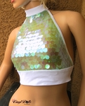 Iridescent Opal Sequin Halter Top