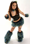 Lime and Blue Fluffy Monster Rave Outfit