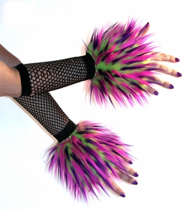 Lime Hot Pink Purple Monster Fur Wrist Cuffs