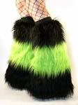 Long Faux Fur Black / Lime Green Fuzzy Boot Covers