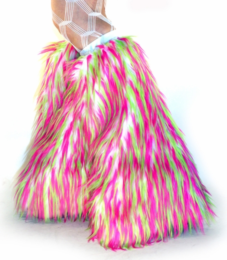 Monster Furry Boot Covers Lime, Hot Pink, White