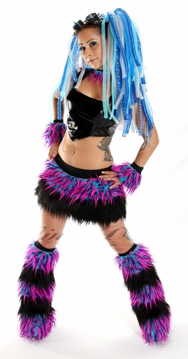 Monster Hot Pink, Blue, Purple and Black Furry Outfit