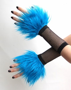 Neon Blue Turquoise Furry Wrist Cuffs