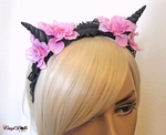 Pink Black floral horned headband