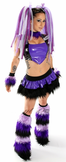 Purple Black Vinyl and Fur Rave Outfit