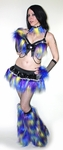 Purple Blue Yellow Fur Full Outfit Bra
